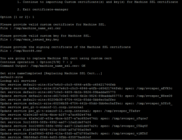 Installing vCenter Internal CA signed SSL Certificates